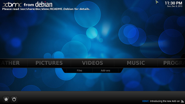 xbmc-from-debian-main-screen
