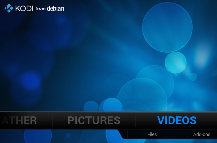 Kodi from Debian main screen